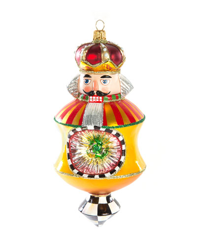 Nutcracker Reflector Gold Glass Ornament