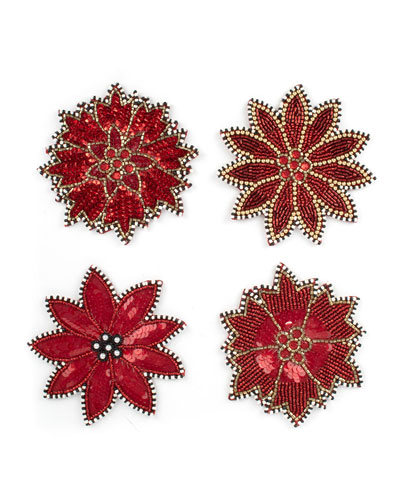 Poinsettia Beaded Coasters  Set of 4