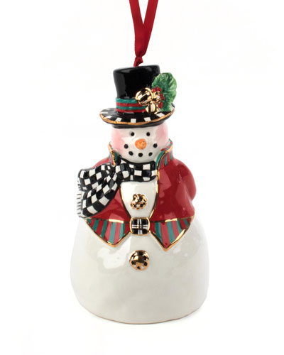 Top Hat Snowman Bell Ornament
