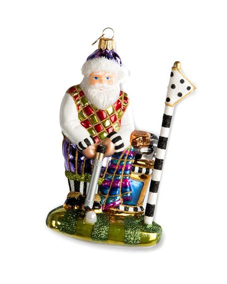 MacKenzie-Childs Santa On The Green Glass Ornament