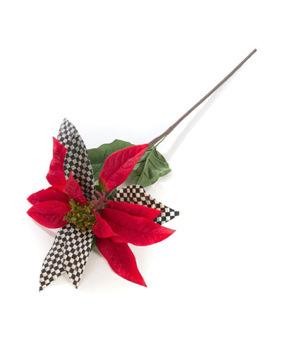 Courtly Check Red Poinsettia Pick