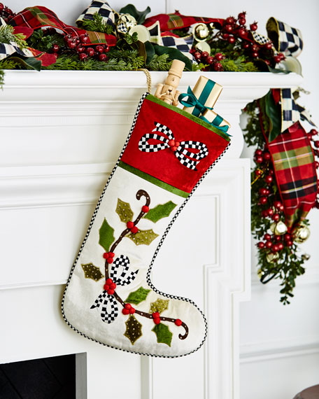 MacKenzie-Childs Mistletoe Stocking