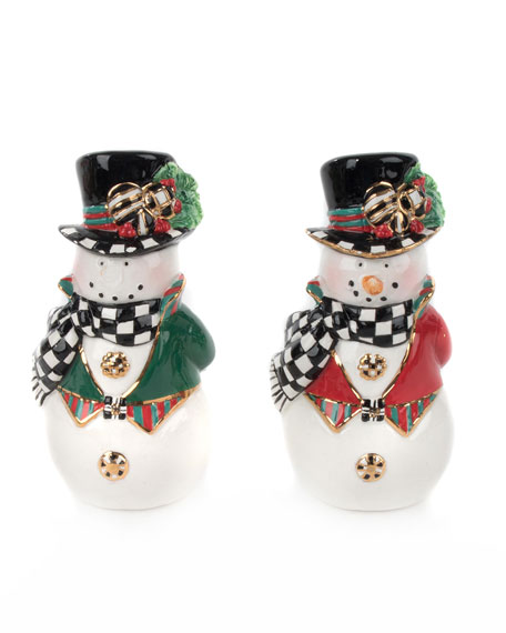 MacKenzie-Childs Top Hat Snowman Salt & Pepper Shakers