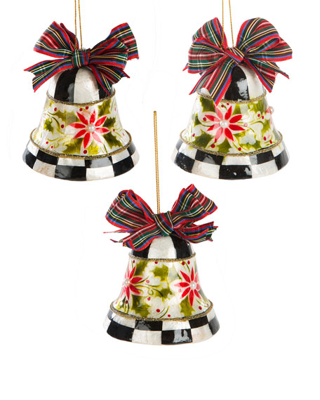 Capiz Check Bell Ornaments, Set of 3