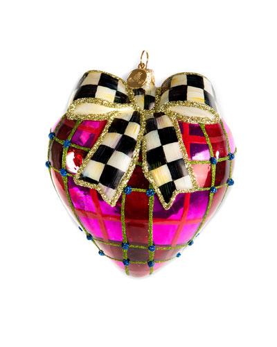 Plaid Heart Glass Ornament