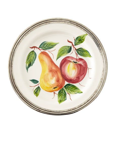 Neiman Marcus Fruit Pewter & Ceramic Dinner Plate