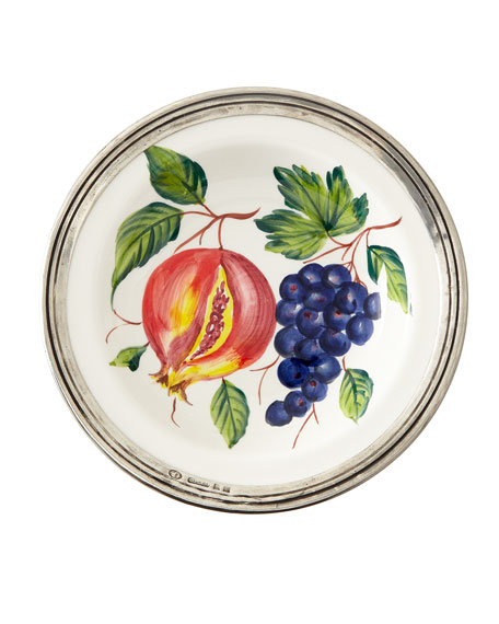 Neiman Marcus Fruit Pewter & Ceramic Soup Bowl