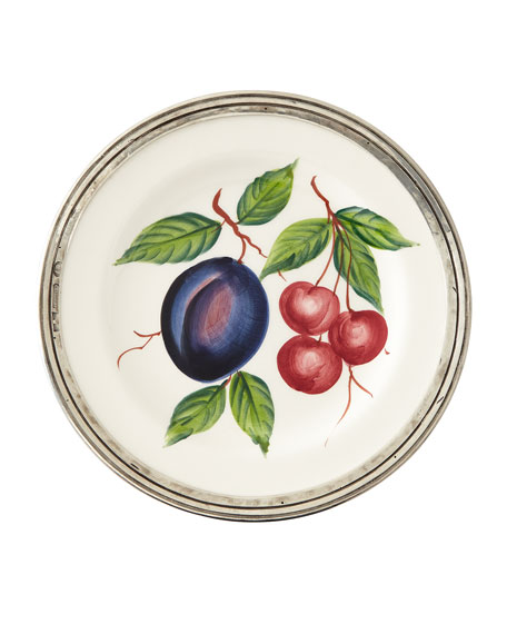 Neiman Marcus Fruit Pewter & Ceramic Salad Plate