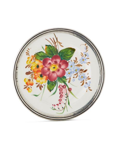 Neiman Marcus Floral Pewter & Ceramic Salad Plate