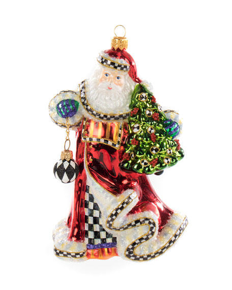 Tis The Season Santa Glass Ornament