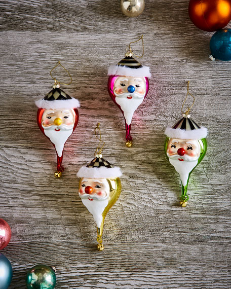 MacKenzie-Childs Jolly St. Nick Ornaments, Set of 4