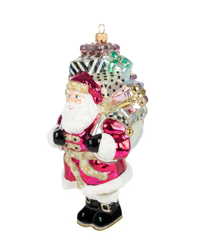 Gift Giving Santa Glass Ornament