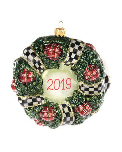 2019 Wreath Glass Ornament