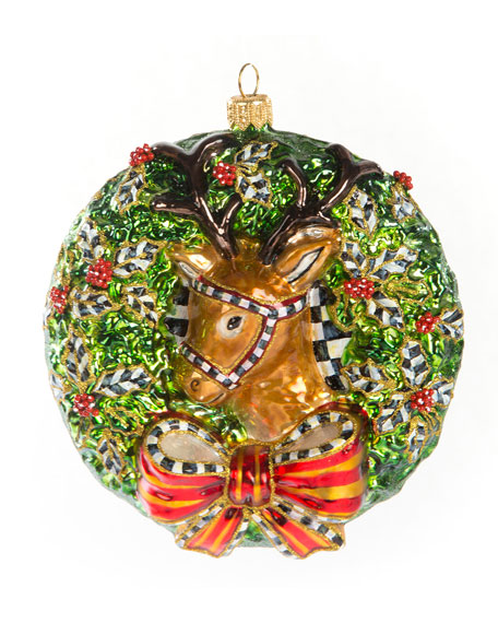 2019 Deer Wreath Glass Ornament