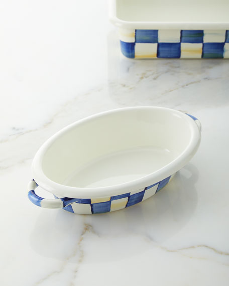 MacKenzie-Childs Royal Check Small Oval Gratin