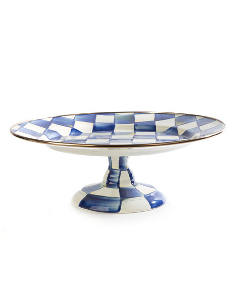 MacKenzie-Childs Royal Check Pedestal Platter