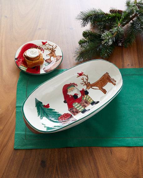 2019 Limited Edition Old St. Nick Handled Shallow Oval Bowl