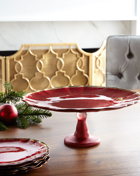 Baroque Glass Red Cake Platter