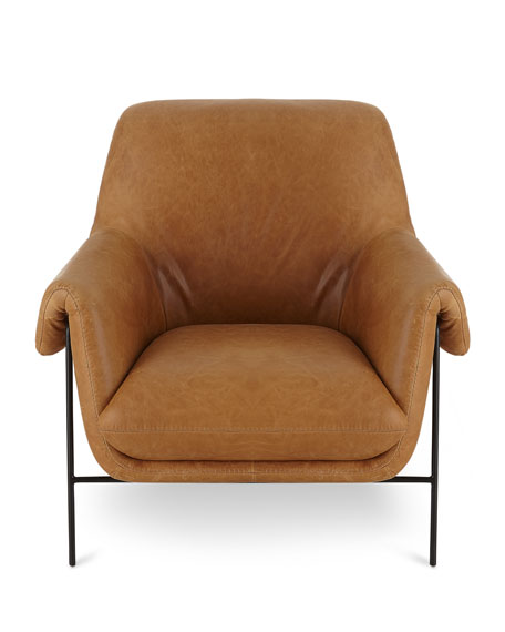 Derby Leather Metal Frame Club Chair