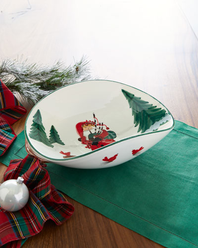 Old Saint Nick Bagpipes Oval Bowl