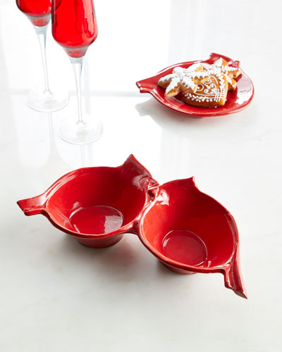Lastra Holiday Figural Red Bird Two-Part Server