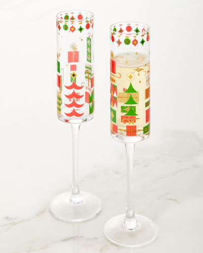 2019 Crazy Good Cheer Champagne Flutes  Set of 4