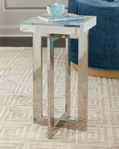 Polished Nickel Crystal Martini Table