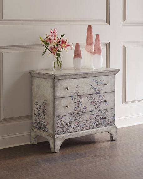 Hand-Painted Floral 3-Drawer Chest