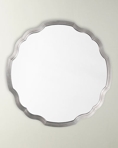 Silver Leaf Round Chippendale Mirror