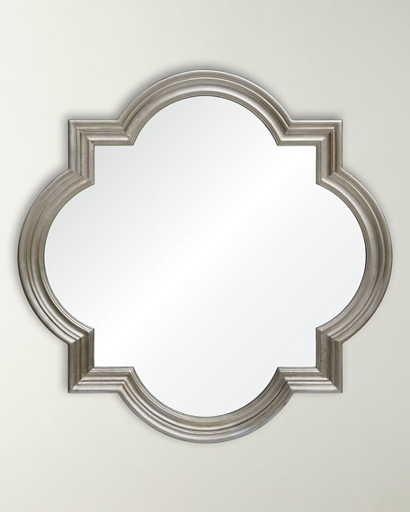 Distressed Silver Leaf Quatrefoil Mirror