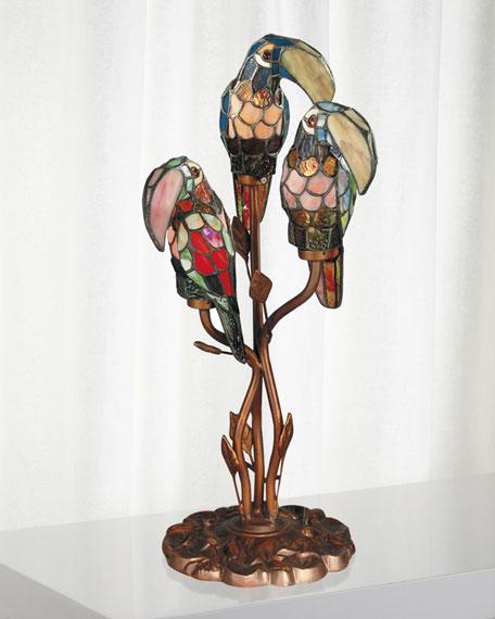 Three Parrots Tiffany Table Lamp