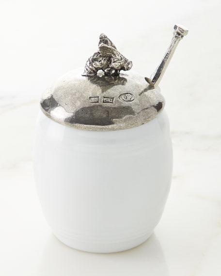 Neiman Marcus Ceramic Pewter Honey Holder