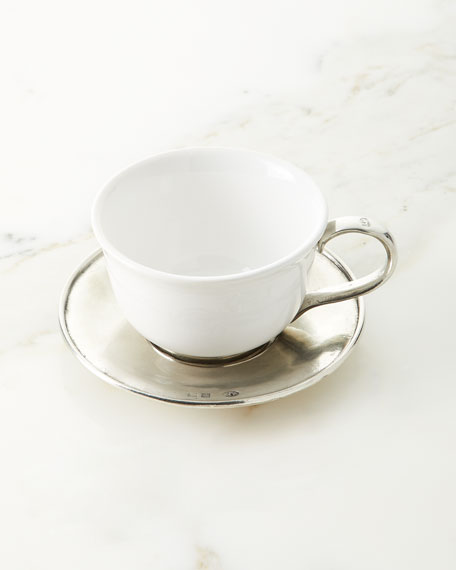 Ceramic & Pewter Tea Cup with Saucer & Spoon