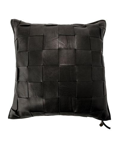 Black Trenza Woven Leather Pillow