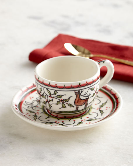 Christmas Pavoes Cups & Saucers, Set of 4