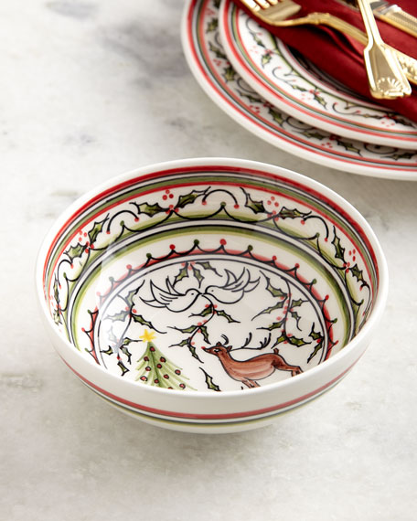 Christmas Pavoes Cereal Bowls, Set of 4