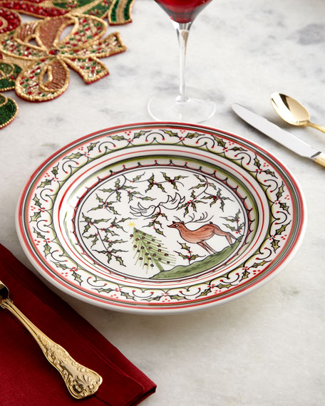 Christmas Pavoes Dinner Plates, Set of 4