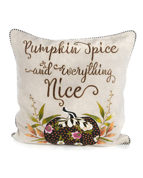MacKenzie-Childs Pumpkin Spice & Everything Nice Pillow