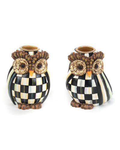 Owl Candlestick Holders  Set of 2