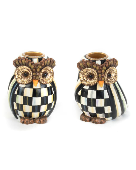 MacKenzie-Childs Owl Candlestick Holders, Set of 2
