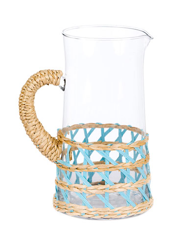 Large Light Blue Seagrass Wrapped Pitcher