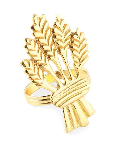 Golden Wheat Napkin Rings, Set of 4