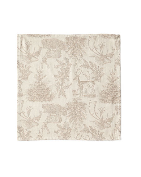 Jacquard Stag Clay Napkins, Set of 4