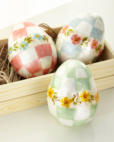 Pastel Large Floral Eggs  Set of 3