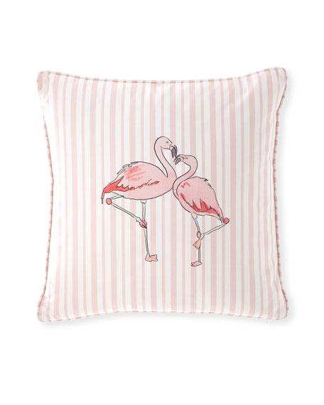 """Flamingo Stripe Pillow, 20"""""""