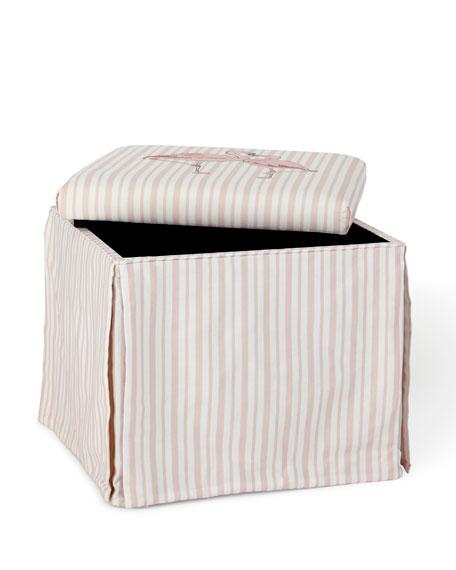 Flamingo Stripe Skirted Storage Ottoman