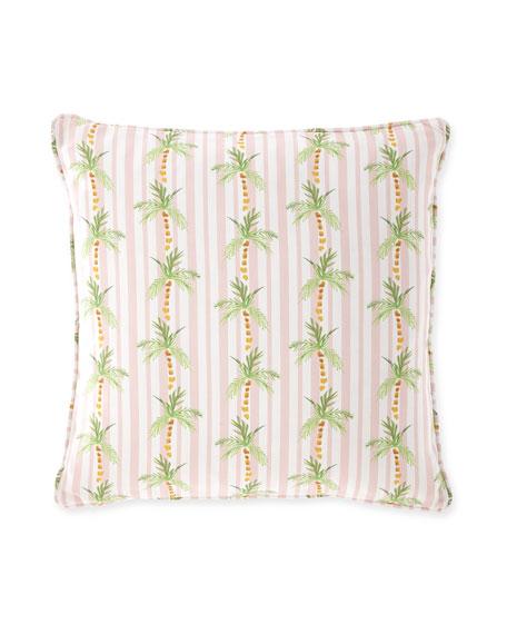 """Palm Tree Stripe Pink Pillow, 20"""""""