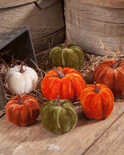 Velveteen Pumpkins in Bag  Set of 7