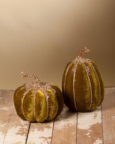Olive Velvet Pumpkins  Set of 2