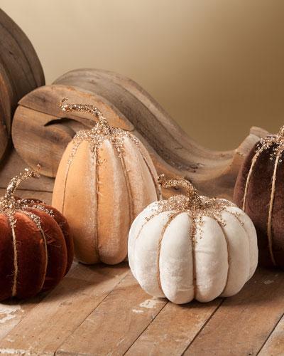 Elegant Fall Velvet Pumpkins  Set of 4